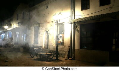 Dark Alley With smoke