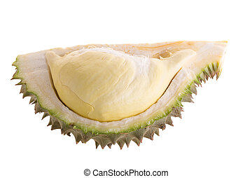 Fresh Cut Durian on a white background.