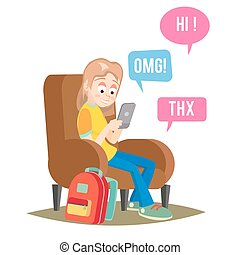 Teen Girl Vector. Happy Girl Talking, Chatting On Network. Devices And Social Media Addiction. Isolated Flat Cartoon Character Illustration