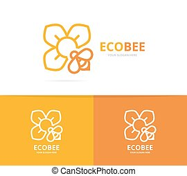 Vector of flower and bee logo combination. Unique floral and...