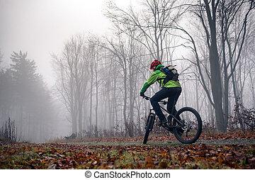 Mountain biker cycling on trail in woods - Mountain biker...
