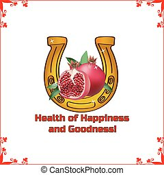 Yellow horseshoe for health with red pomegranate, in a frame, on a white background.