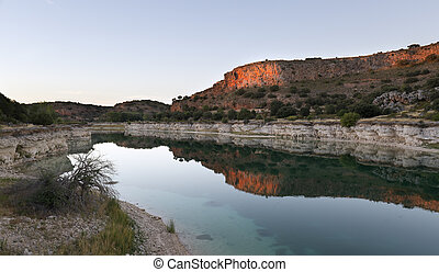 Landscape in the lagoons of Ruidera at sunset. Place of the...