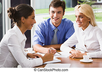 Business people at a meeting - Three business persons are...