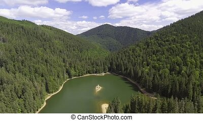 Summer mountain lake Sinevir in the Carpathian mountains