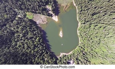 Aerial view of Lake Synevir in Carpathian Mountains in...