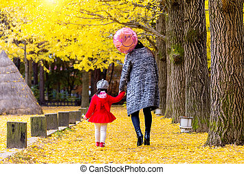 Nami island in Autumn with Mother and daughter. - Nami...