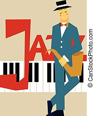 Template of poster for jazz music concert. Man with saxophone and piano keyboard. Vector illustration.