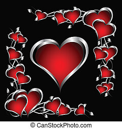 A red and silver hearts Valentines Day Background