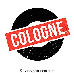 Cologne rubber stamp. Grunge design with dust scratches....