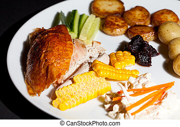 Healthy chicken dinner. Nutritional low calorie slimmer...