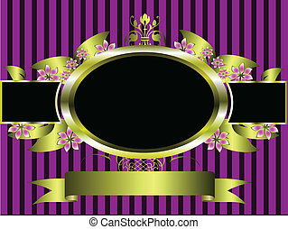 gold floral frame on a classic purple striped  background