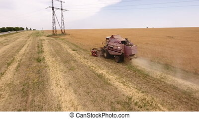 Aerial shot of a wheat field and a combine harvester collecting crop in summer