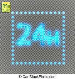 twenty four seven concept open all days.Illustration of Vector Neon Sign. Open 24 Hours Glowing Neon Frame on transparent background. 24 7
