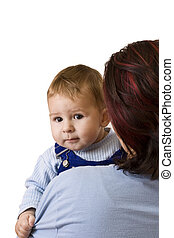 moms and babies - mom playing with her baby boy, isolated in...
