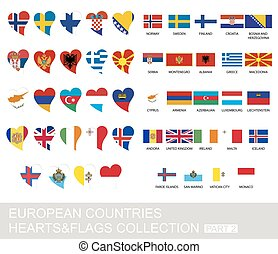 European countries set, hearts and flags, part 2