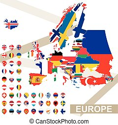 Vector map of Europe with flags