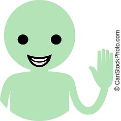 green funny smile puppet - Creative design of green funny...