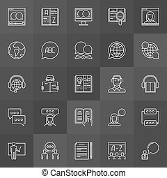 Learning a foreign language icons - vector education linear...