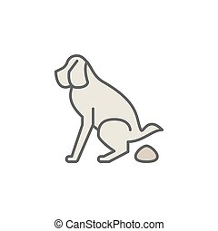 Dog pooping colorful icon - Dog pooping creative colorful...
