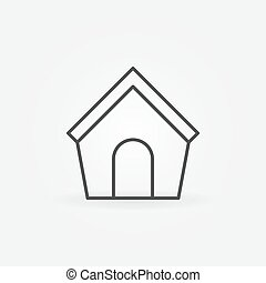 Doghouse line icon - vector simple symbol or design element...