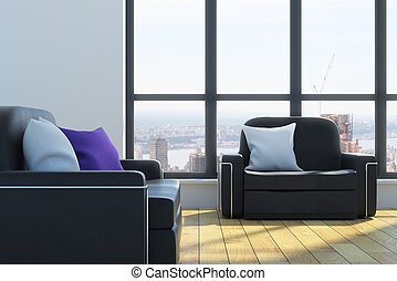 Cozy interior with pillows on sofas, wooden floor and window...