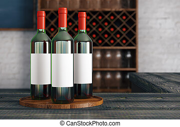 Red wine advertisement - Close up of red wine bottles with...