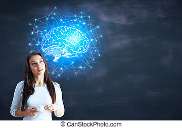 Artificial intelligence and network - Cheerful young woman...