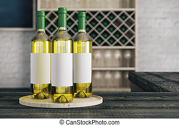 White wine ad - Close up of white wine bottles with empty...
