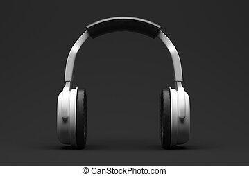 Gadget concept - White headphones or earphones on dark...