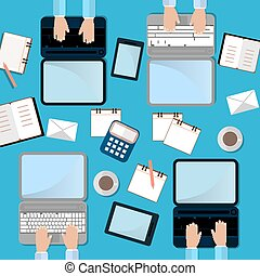 Four Man Work on Laptop. Top View. Work Process Concept with laptop, smartphone and cup of cofee. Flat Illustration