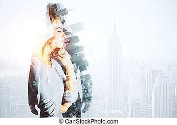 Research concept - Abstract image of thoughtful woman and...