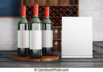 Red wine announcement - Close up of red wine bottles with...