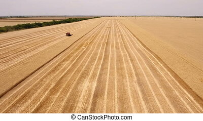 Aerial shot of a large combine harvester finishing reaping...