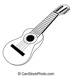 Isolated banjo silhouette - Isolated outline of a banjo,...