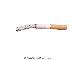 Lit cigarrette with ashes isolated on a white background