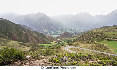 The terraced fields of the Sacred Valley of the Incas near...