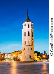 Vilnius, Lithuania. Evening Night View Of Bell Tower Belfry...