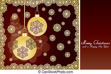 Brown christmas card with golden snowflakes and baubles, very beautiful greetings card, vector illustration