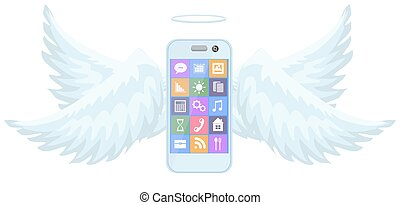 a new smart mobile phone flying with wings