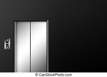 Elevator - Chrome elevator doors closed on black wall...