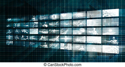 Digital Marketing Background with Video Abstract Wall