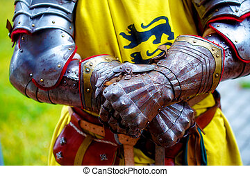 Detail knight armor. Gloves of a knight.