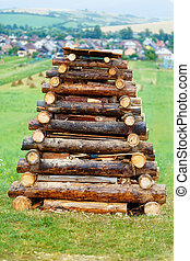 high bonfire of logs prepared for feast on meadow. - high...
