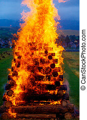 great burning bonfire made of logs with beautiful flames. -...