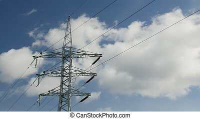 Power Transmission Line With Cloudy Sky On The Background. -...