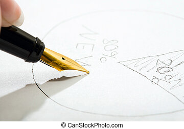Fountain pen - Close-up of fountain pen writing on the paper