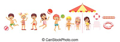 Vector illustration isolated cartoon characters children,...