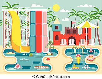 Vector illustration of exterior water park, outdoor...