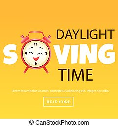 Banner for Daylight Saving Time with alarm clock -...